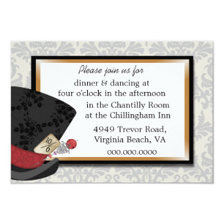 Mad Hatter Wedding Reception Card