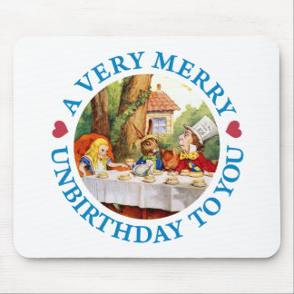 Mad Hatter Wishes Alice a Very Merry Unbirthday Mouse Pad