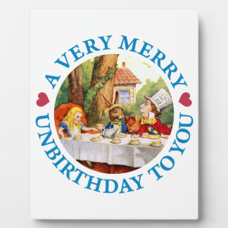 Mad Hatter Wishes Alice a Very Merry Unbirthday Plaques