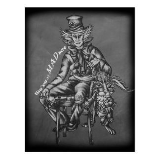 Mad Hatter with March Hare Wonderland Chalk Art Postcard