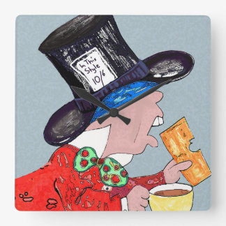 Mad Hatter with teacup and sandwich Square Wall Clock