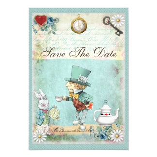 Mad Hatter Wonderland Baby Shower Save The Date Invites