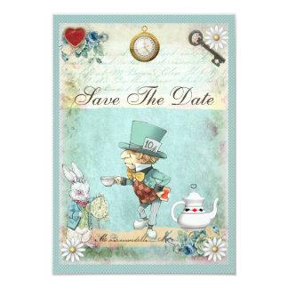 Mad Hatter Wonderland Baby Shower Save The Date 3.5x5 Paper Invitation Card