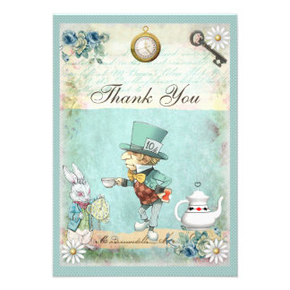 Mad Hatter Wonderland Baby Shower Thank You Personalized Invitations