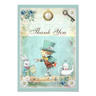 Mad Hatter Wonderland Baby Shower Thank You 3.5x5 Paper Invitation Card
