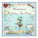 "Mad Hatter Wonderland Birthday Tea Party Invites 5.25"" Square Invitation Card"