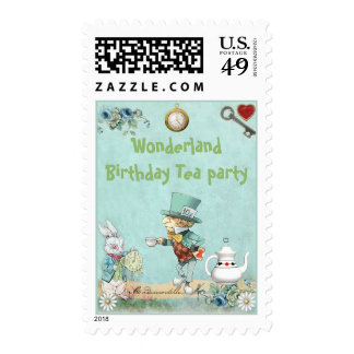 Mad Hatter Wonderland Birthday Tea Party Postage Stamps