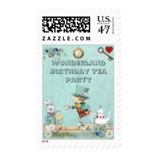 Mad Hatter Wonderland Birthday Tea Party Postage Stamp