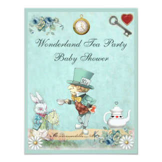 Mad Hatter Wonderland Tea Party Baby Shower 4.25x5.5 Paper Invitation Card