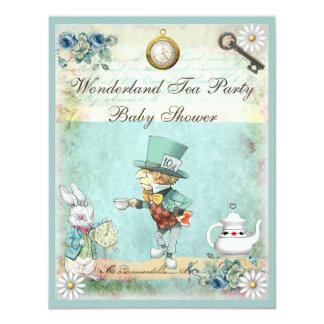Mad Hatter Wonderland Tea Party Baby Shower 4.25x5.5 Paper Invitation Card