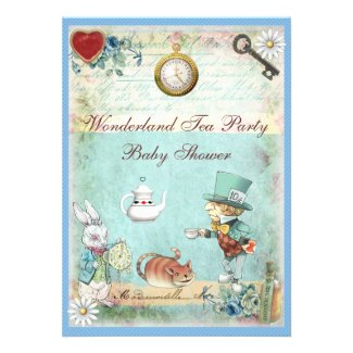 Mad Hatter Wonderland Tea Party Baby Shower Custom Invites