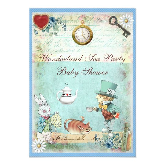 Mad Hatter Wonderland Tea Party Baby Shower Invitation
