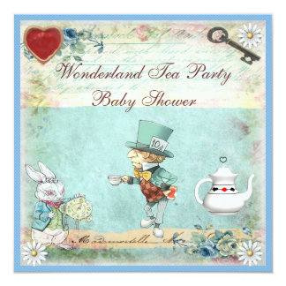 Mad Hatter Wonderland Tea Party Baby Shower Custom Announcements