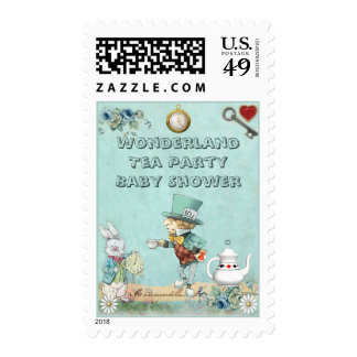 Mad Hatter Wonderland Tea Party Baby Shower Postage Stamps