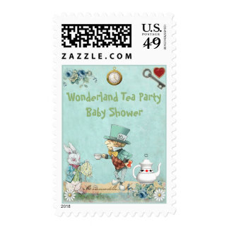 Mad Hatter Wonderland Tea Party Baby Shower Stamps