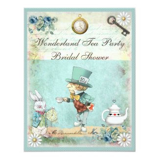 Mad Hatter Wonderland Tea Party Bridal Shower Invitation
