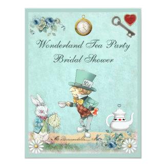 Mad Hatter Wonderland Tea Party Bridal Shower 4.25x5.5 Paper Invitation Card