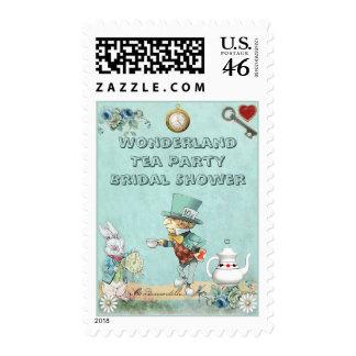 Mad Hatter Wonderland Tea Party Bridal Shower Postage Stamps