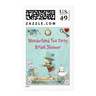 Mad Hatter Wonderland Tea Party Bridal Shower Stamps