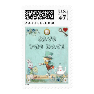 Mad Hatter Wonderland Tea Party Save The Date Postage Stamp