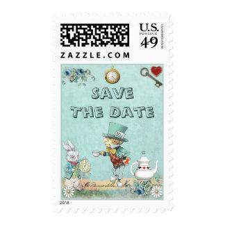 Mad Hatter Wonderland Tea Party Save The Date Postage Stamp