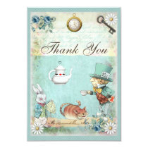 Mad Hatter Wonderland Tea Party Thank You Card