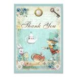 Mad Hatter Wonderland Tea Party Thank You 3.5x5 Paper Invitation Card