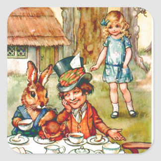 Mad Hatter's Tea Party  - Alice in Wonderland Square Sticker
