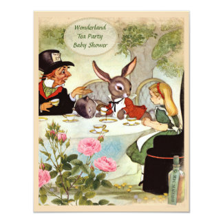 Mad Hatter's Tea Party Baby Shower 4.25x5.5 Paper Invitation Card