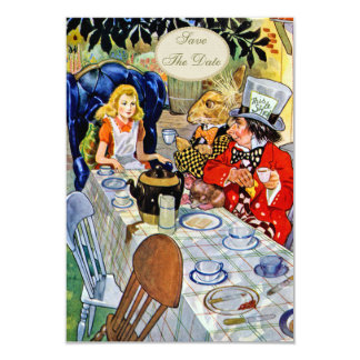 Mad Hatter's Tea Party Baby Shower Save the Date 3.5x5 Paper Invitation Card