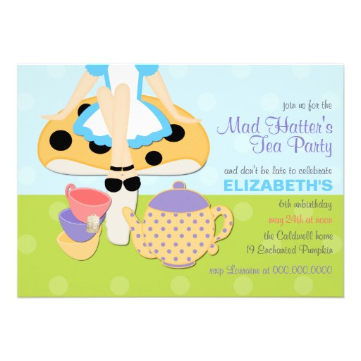 Personalized Alice wonderland Invitations CustomInvitations4Ucom