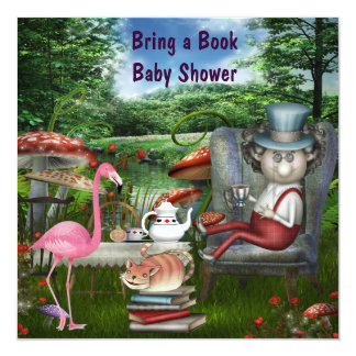 Mad Hatter's Tea Party Bring A Book Baby Shower Card