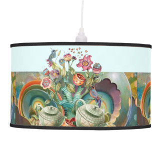 Mad hatters tea party collage pendant lamps