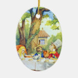 Mad Hatters Tea Party Color Double-Sided Oval Ceramic Christmas Ornament