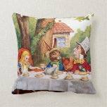 Mad Hatter's Tea Party in Wonderland Throw Pillows