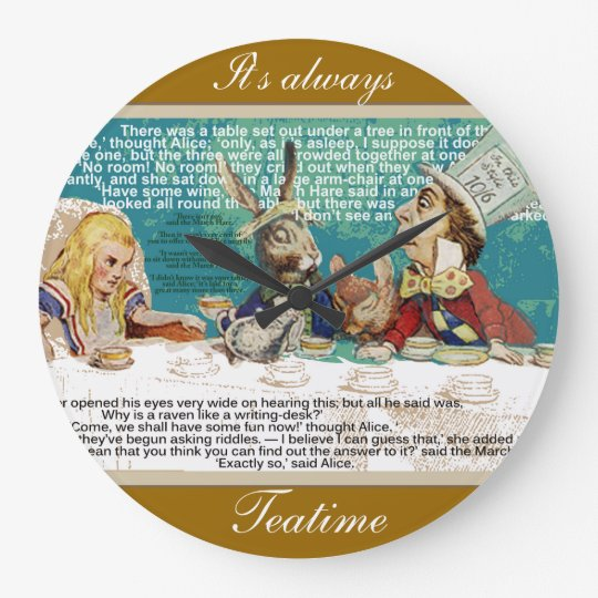 Mad Hatter's Tea Party Large Clock