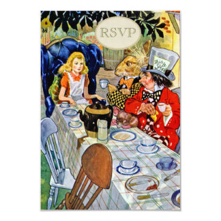 Mad Hatter's Tea Party RSVP 3.5x5 Paper Invitation Card