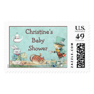 Mad Hatter's Tea Party Wonderland Baby Shower Stamp