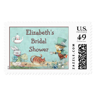 Mad Hatter's Tea Party Wonderland Bridal Shower Postage