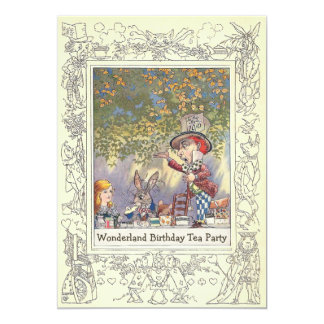 Mad Hatter's Wonderland Birthday Tea Party 5x7 Paper Invitation Card