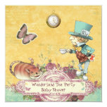 Mad Hatter's Wonderland Tea Party Baby Shower 5.25x5.25 Square Paper Invitation Card