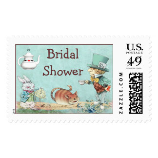Mad Hatter's Wonderland Tea Party Bridal Shower Postage