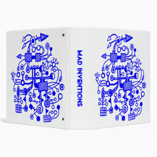 "Mad Inventions - Blue on White (1.5"") 3 Ring Binder"