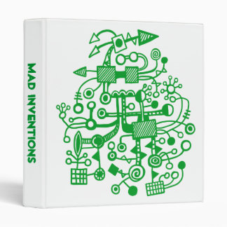 "Mad Inventions - Grass Green on White (1"") 3 Ring Binder"