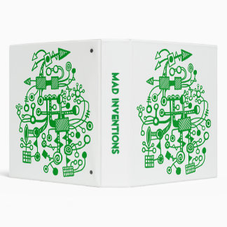 """Mad Inventions - Grass Green on White (1.5"""") Binder"""