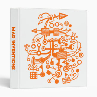 "Mad Inventions - Orange on White (1"") 3 Ring Binder"