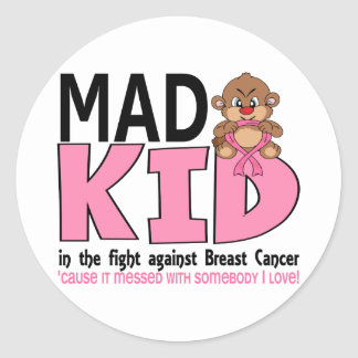 Mad Kid Breast Cancer Classic Round Sticker