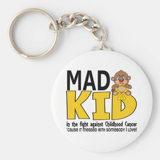 Mad Kid Childhood Cancer Basic Round Button Keychain