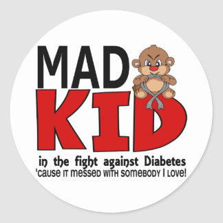 Mad Kid Diabetes Classic Round Sticker
