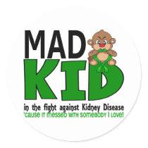 Mad Kid Kidney Disease Classic Round Sticker